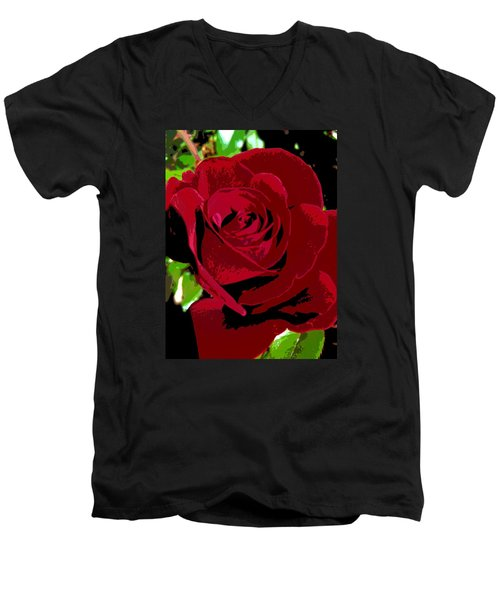Men's V-Neck T-Shirt featuring the photograph Rose Bloom by Matthew Bamberg
