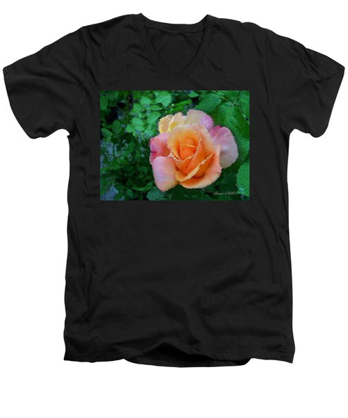 Men's V-Neck T-Shirt featuring the photograph Rose by Bonnie Willis
