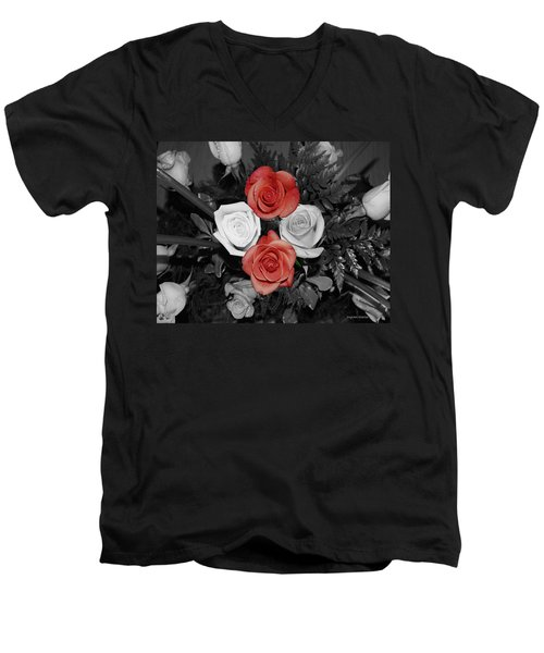Rose Bouquet Men's V-Neck T-Shirt by DigiArt Diaries by Vicky B Fuller