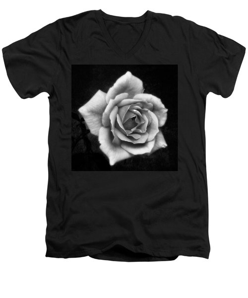 Rose In Mono. #flower #flowers Men's V-Neck T-Shirt by John Edwards