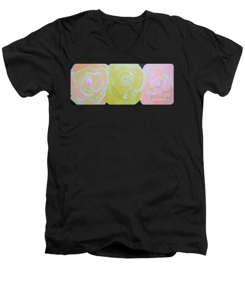 Men's V-Neck T-Shirt featuring the painting Rose Medley With Dewdrops by Karen Jane Jones