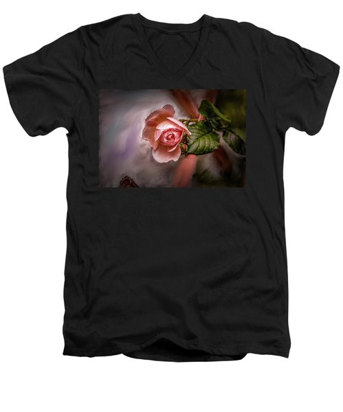 Rose On Paint #g5 Men's V-Neck T-Shirt
