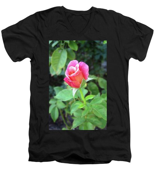 Rosebud Men's V-Neck T-Shirt by Mary Ellen Frazee