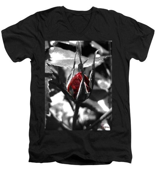Rosebud Red Men's V-Neck T-Shirt