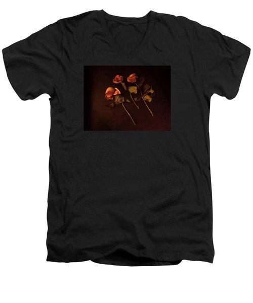 Roses In Amber Light Men's V-Neck T-Shirt by Cedric Hampton