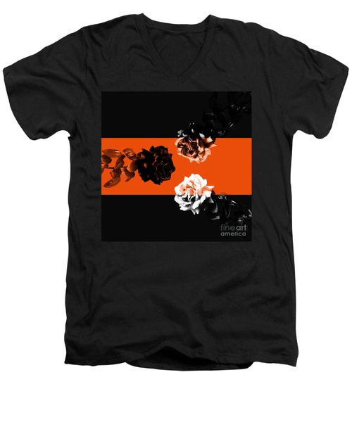 Roses Interact With Orange Men's V-Neck T-Shirt
