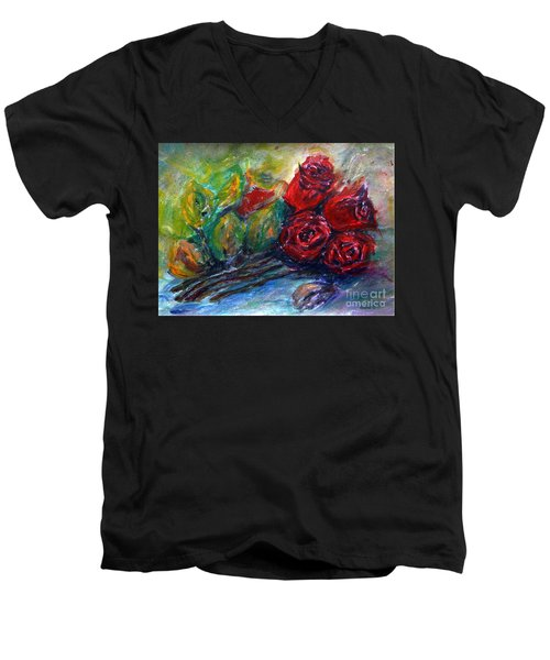 Men's V-Neck T-Shirt featuring the painting Roses by Jasna Dragun