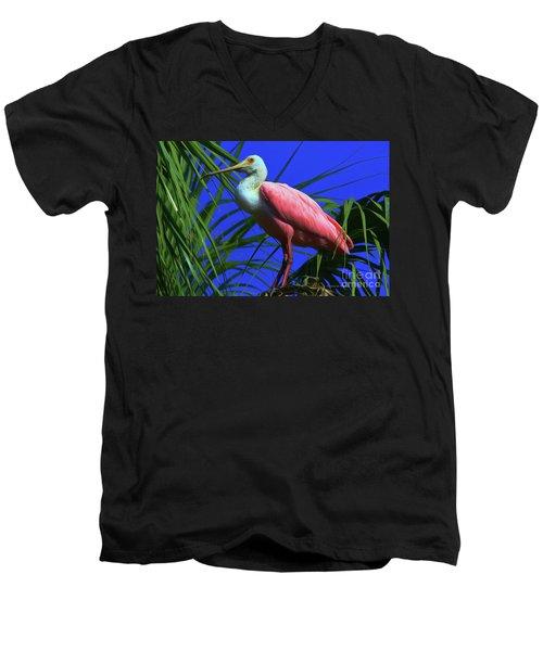 Men's V-Neck T-Shirt featuring the painting Rosetta Spoonbill Alligator Farm by Deborah Benoit