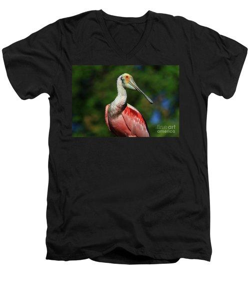 Men's V-Neck T-Shirt featuring the photograph Rosetta Spoonbill Beauty by Deborah Benoit