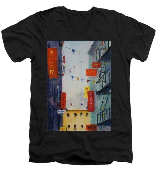 Ross Alley1 Men's V-Neck T-Shirt by Tom Simmons