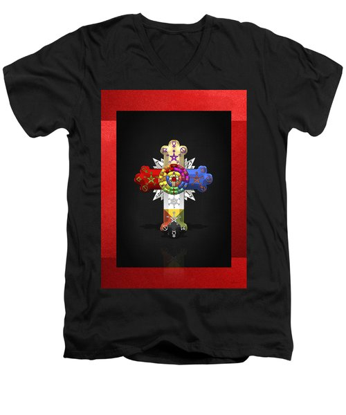 Rosy Cross - Rose Croix  Men's V-Neck T-Shirt by Serge Averbukh