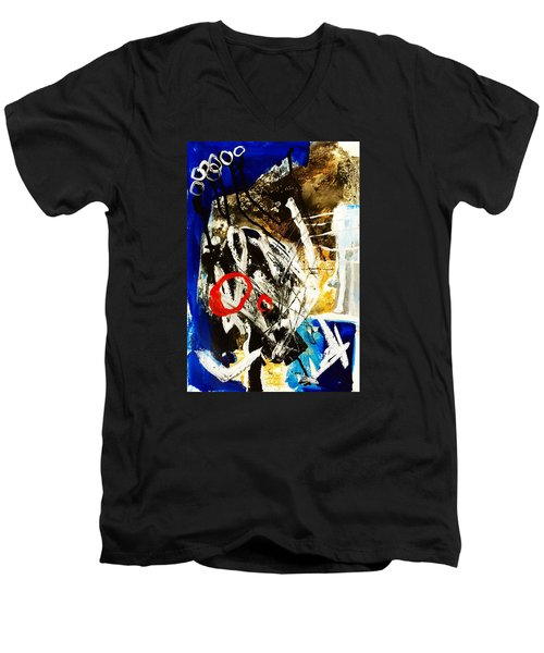 Men's V-Neck T-Shirt featuring the painting Round II by Helen Syron