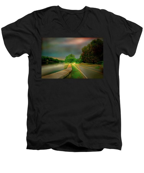 Men's V-Neck T-Shirt featuring the photograph Round The Bend by Diana Angstadt