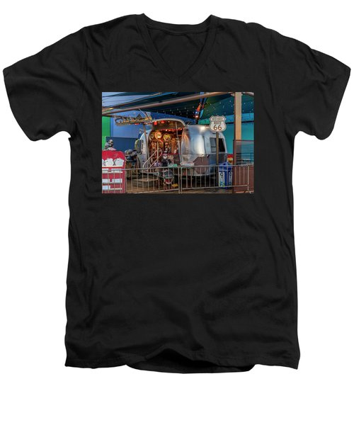 Route 66 And Airstream On Tha Pier Men's V-Neck T-Shirt