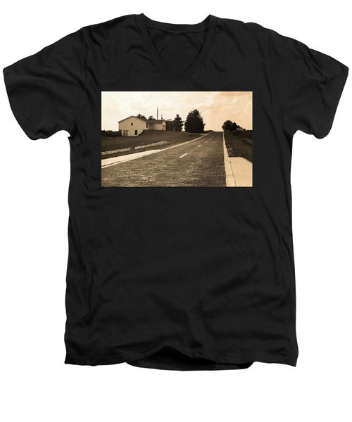 Men's V-Neck T-Shirt featuring the photograph Route 66 - Brick Highway Sepia by Frank Romeo