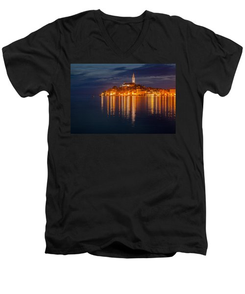 Men's V-Neck T-Shirt featuring the photograph Rovinj By Night by Davorin Mance
