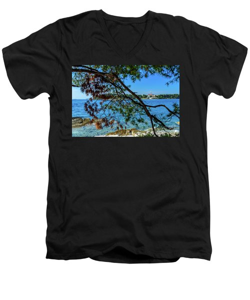 Rovinj Old Town Accross The Adriatic Through The Trees Men's V-Neck T-Shirt