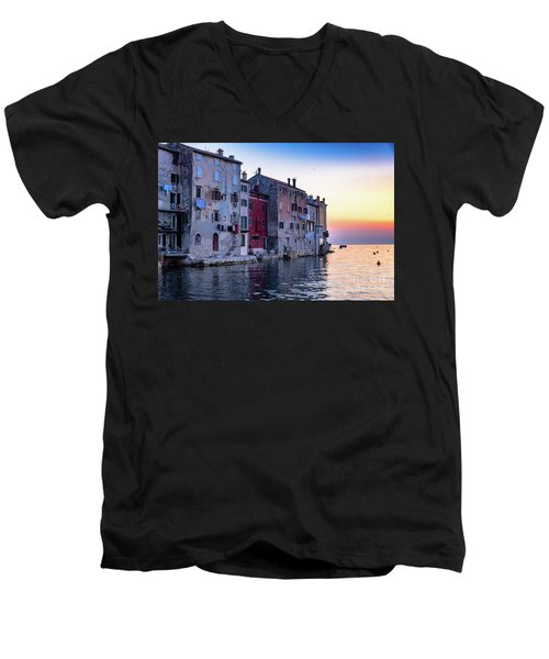 Rovinj Old Town On The Adriatic At Sunset Men's V-Neck T-Shirt
