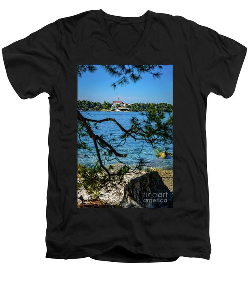 Rovinj Seaside Through The Adriatic Trees, Istria, Croatia Men's V-Neck T-Shirt