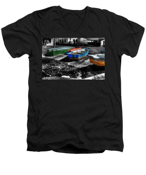 Row Boats At Mudeford Men's V-Neck T-Shirt