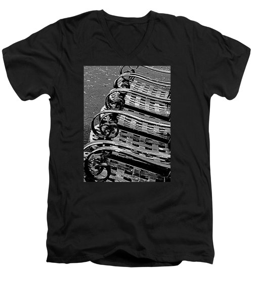 Men's V-Neck T-Shirt featuring the photograph Row Of Chairs by Ranjini Kandasamy