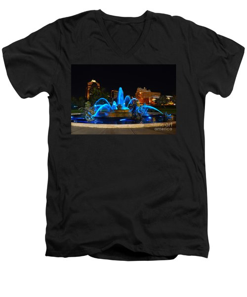 Royal Blue J. C. Nichols Fountain  Men's V-Neck T-Shirt by Catherine Sherman