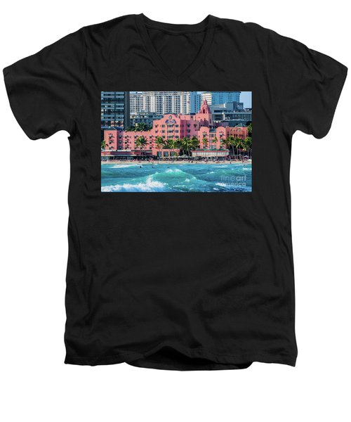 Men's V-Neck T-Shirt featuring the photograph Royal Hawaiian Hotel Surfs Up by Aloha Art