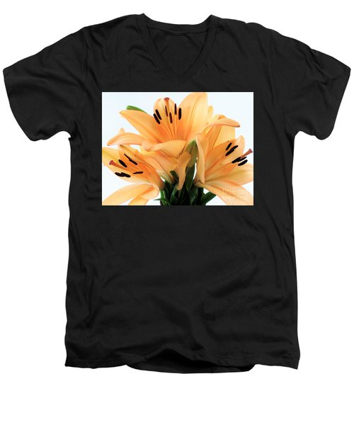 Men's V-Neck T-Shirt featuring the photograph Royal Lilies Full Open - Close-up by Ray Shrewsberry