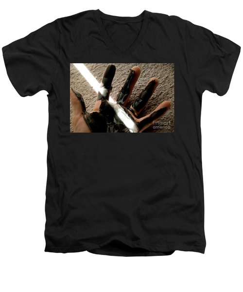 Men's V-Neck T-Shirt featuring the photograph Rubber Hand by Micah May