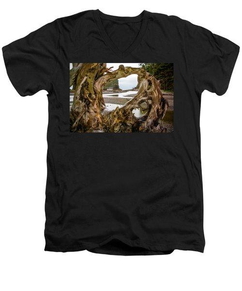 Ruby Beach Driftwood 2007 Men's V-Neck T-Shirt