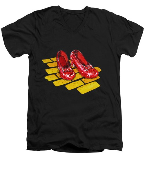 Ruby Slippers From Wizard Of Oz Men's V-Neck T-Shirt