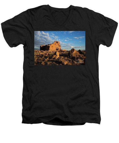 Ruins Of Yereruyk Temple Under Amazing Cloudscape, Armenia Men's V-Neck T-Shirt by Gurgen Bakhshetsyan