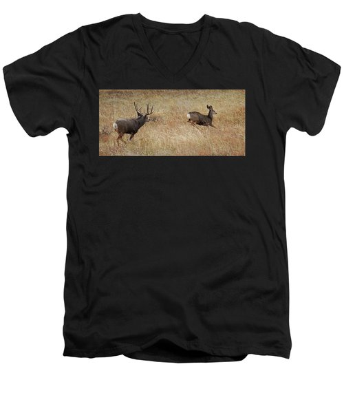 Run Men's V-Neck T-Shirt by Rowana Ray