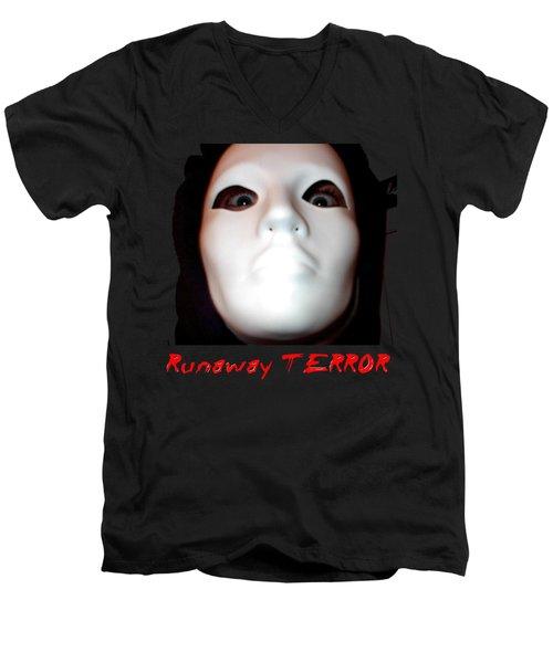 Runaway Terror 3 - Black Men's V-Neck T-Shirt by Mark Baranowski