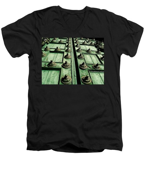 Rustic Church Door Men's V-Neck T-Shirt by Valerie Rosen