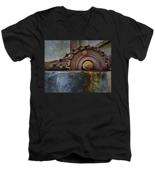 Men's V-Neck T-Shirt featuring the photograph Rustic Gear And Chain by David and Carol Kelly