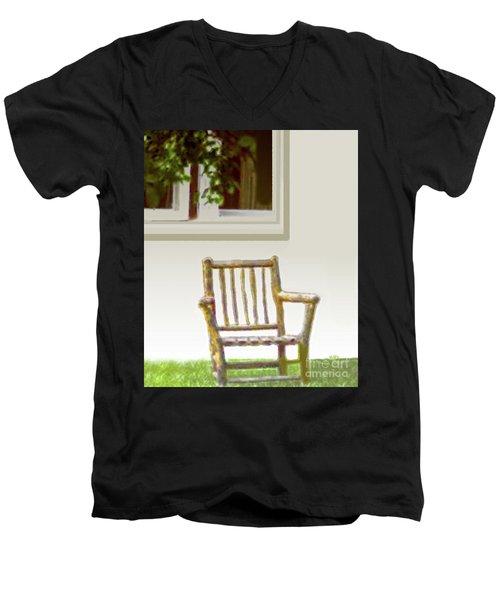 Rustic Wooden Rocking Chair Men's V-Neck T-Shirt