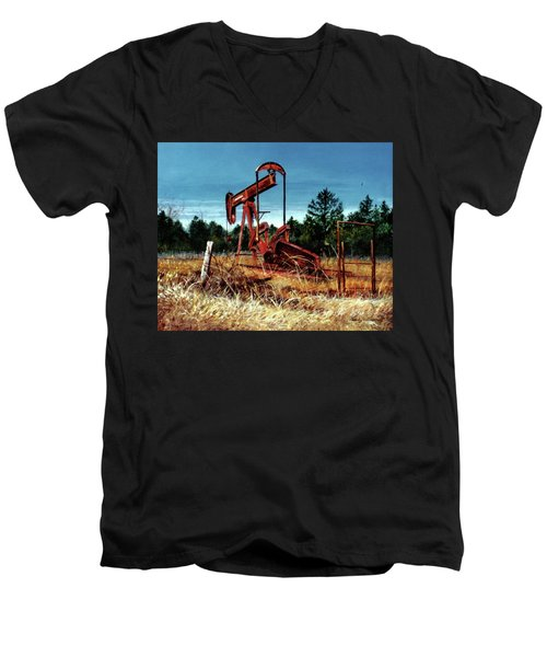 Rusty Pump Jack Men's V-Neck T-Shirt
