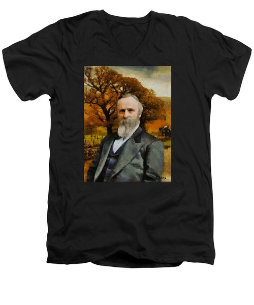 Rutherford B. Hayes Men's V-Neck T-Shirt by Kai Saarto