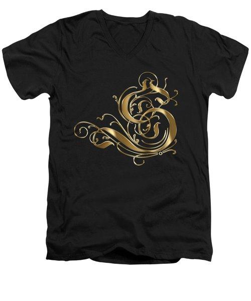 S Golden Ornamental Letter Typography Men's V-Neck T-Shirt