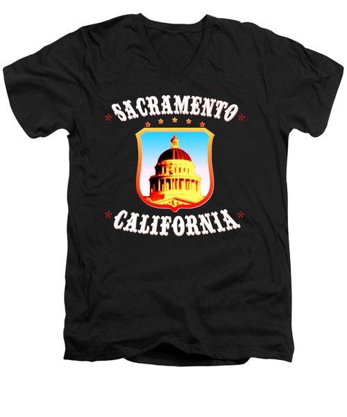 Sacramento California - Tshirt Design Men's V-Neck T-Shirt by Art America Gallery Peter Potter