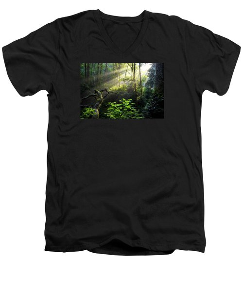 Sacred Light Men's V-Neck T-Shirt by Chad Dutson