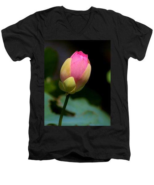 Sacred Lotus Bud 3 Men's V-Neck T-Shirt