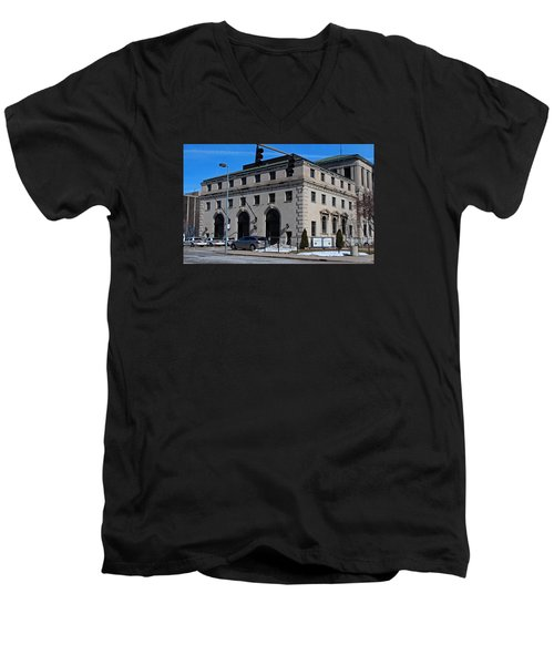 Safety Building Men's V-Neck T-Shirt by Michiale Schneider