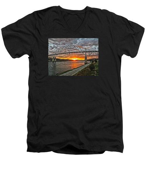Sagamore Bridge Sunset Men's V-Neck T-Shirt