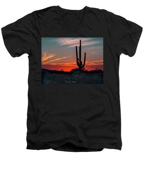 Men's V-Neck T-Shirt featuring the photograph Sagauro Sunset by Penny Lisowski
