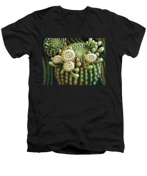 Saguaro Cactus Blossoms Men's V-Neck T-Shirt