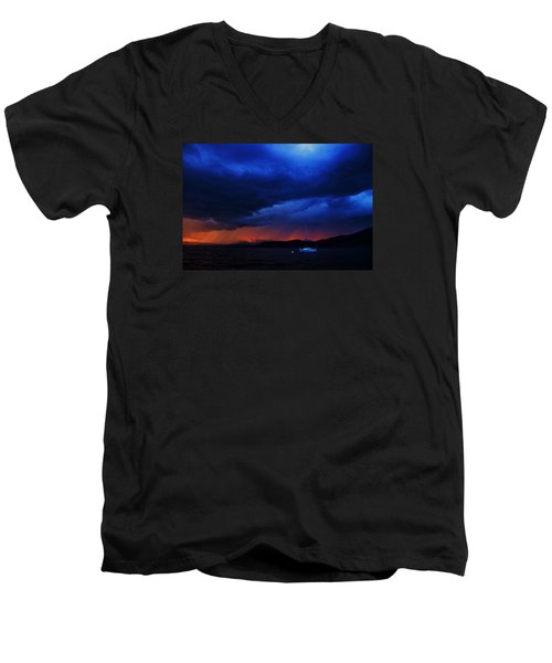 Men's V-Neck T-Shirt featuring the photograph Sailboat In Thunderstorm by Sean Sarsfield