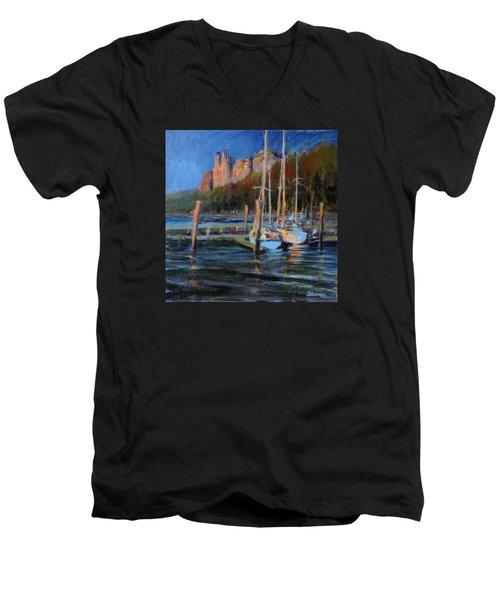 Sailboats At Dusk, Hudson River Men's V-Neck T-Shirt