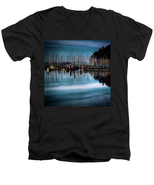 Sailboats At Sunset Men's V-Neck T-Shirt by David Patterson
